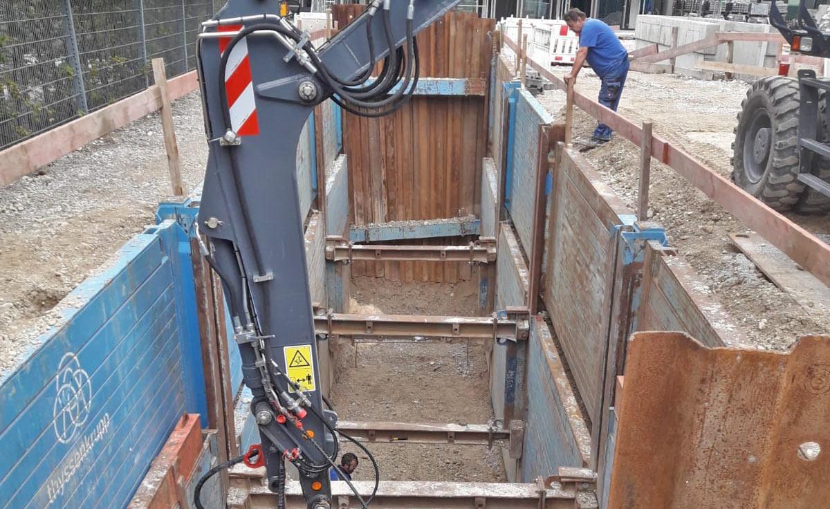 Gleitschienenverbau-Tiefe bis 6m